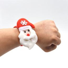 Pulseiras de santa on-line-Presentes de natal tapa pulseiras pulseira crianças crianças papai noel árvore tapa pat circle pulseiras decorações de natal círculo