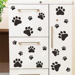 Cartaz do alimento on-line-Atacado de pôster Paw engraçado do gato do cão para as crianças sala de home decalque adesivos de parede DIY armário da porta Food Dish decoração da cozinha Bacia de carro