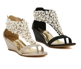 70671480fd4f Rhinestone zipper pearl beaded high heels gold beige black wedges sandals  women shoes summer 2015