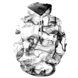 Wholesale fashion watercolor - 2018 Spring New Fashion Men Women 3d Sweatshirts Print Watercolor Dreamy Smoke Lines Style Hooded Hoodies EU Size