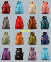 sac de rangement fait à la main Promotion 20pcs / ot 11 * 14cm Chinois À La Main Brodé Floral Soie de stockage Sacs Cordon Poche Bijoux Sac cadeau sac
