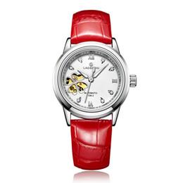 Relógios de marca de relógios mecânicos automáticos casuais das mulheres branco mostrador vermelho oco Senhoras pulseira de aço inoxidável esportes feminino relógio de pulso trevo de