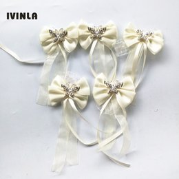 Wholesale Artificial Crystals For Decoration - 10pcs lot Crystal Wedding Wrist Flowers Artificial Hand Flower Decoration for wedding decoration