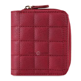 Wholesale Pu Process - Simple Wallet Lady Zip Sewing Wallet Short Purse Card Holder Red Provide OEM processing and Drop-shipping