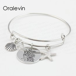 Pulseras para los niños online-TE AMO A LA PLAYA Y ATRÁS Shell Starfish Charms Pendent Bracelet Bangle Lover Regalo para niños Joyas, 10Pcs / Lot, # LN102B