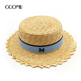Wholesale Holiday Tops For Women - GGOMU New arrive High quality summer straw hat for women holiday beach sun hat Letters Flat-top cap fashion ladies style ZLH-146