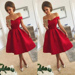 97291fca5 Red Short Homecoming Dresses 2018 Sweety 16 Juniors Graduation Gowns A Line  Knee Length Off Shoulders Ruffles Prom Cocktail Gowns