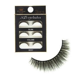 Wholesale super long false eyelashes - Wholesale Newest 3Pairs Lot 3D Black Cross Thick False Eyelashes Super Soft Natural Long Makeup Eye Lash Extension