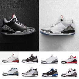 Wholesale Basketball Wolf - (With Box)Air retro black white cement 3 Basketball Shoes Sports Grateful Katrina Wolf Grey Man Sneakers 3s III Men sports Shoes