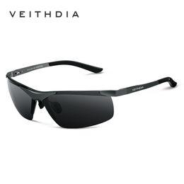Óculos de segurança on-line-Veithdia Marca Alumunum Men 'S polarizados UV400 Espelho Óculos de sol sem aro retângulo Mens óculos de sol Eyewear For Men 6501