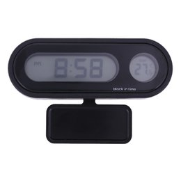 Wholesale Led Digital Car Clock - 12 24 hours LED Display Car auto vehicle Thermometer Clock 2 in 1 Digital Automotive Temperature Meter Drop Shipping