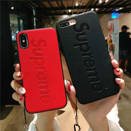 Wholesale stripe iphone - Case for iphoneX 7 8 plus Stripe matte Letter phone Case for iphone6 6S plus TPU cover with Long lanyard and hand strap