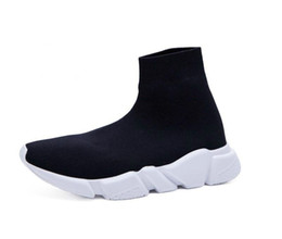 Wholesale Cheap High Tops Women - 2018 Speed Trainer Boots Socks Stretch-Knit High Top Trainer Shoes Cheap Sneaker Black White Woman Man Couples Shoes Casual Boots EUR 36-47