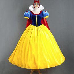 Disfraces de halloween blanco como la nieve adultos online-Halloween Snow White vestido largo de carnaval carnaval adulto hembra Snow Queen Costume Anna princesa Cosplay