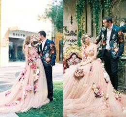 Wholesale one hand wedding dresses - 2018 Champange Flowers A Line Wedding Dresses One Shoulder Sweetheart Designer Wedding Gowns Online with Chapel Train BA7244