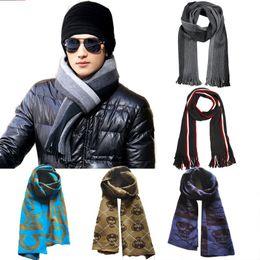 2019 listra lurex Hombre de invierno bufanda de la raya de negocios de lana caliente bufanda de punto bufandas de moda espesar suave chal 4 9hl gg listra lurex baratos