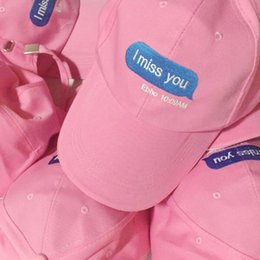 Wholesale casquette de baseball rose noir tu me manques iPhone message chat rue style femme chapeau nuage adolescent