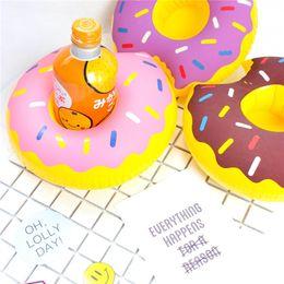 Wholesale wholesales swim rings - Doughnut Inflatable Floating Drink Cushion Holder Swim Bathing Saucer Cup Base Mini Swim Ring Drop Shipping