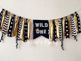 decorazioni per bambini Sconti All'ingrosso-New Black Gold Wild One Ispirato Seggiolone Banner Boy 1 ° Festa di compleanno Ghirlanda Bunting Baby Shower Decorazioni Nursery Hanging