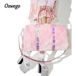 Fauxpelz süßer online-Oswego Rainbow Laser Handtaschen Weiche Rosa Faux Fur Süße Frauen Crossbody Umhängetaschen für Reise Boston Taschen Mode Totes Taschen