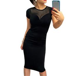 Сексуальные платья для женщин офиса онлайн-Sexy Mesh Splice Women Dress Summer Short Sleeve Back Zipper Knee Dress Fashion Female O-Neck Party Office Dresses Vestidos