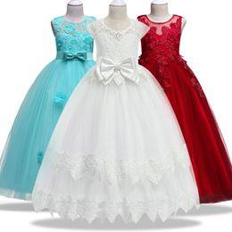 4-14Yrs Dentelle Adolescents Enfants Filles De Mariage Longue Robe élégante Princesse Party Pageant Robe Formelle Sans Manches Filles Vêtements ? partir de fabricateur