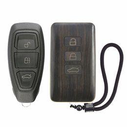 auto fernschlüssel gehäuse Rabatt Ersatz Auto Fernbedienung Fall Refit Holz Autoschlüssel Gehäuse für Ford C-Max Fiesta Fokus (W / O Platine)