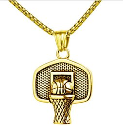 Wholesale Mini Charm Necklace - Hip Hop Iced Out Gold silver Plated Mini Basketball Rim Pendant Necklace Long Chain Necklaces Mens Jewelry Gold Silver 2 Colors Fashion