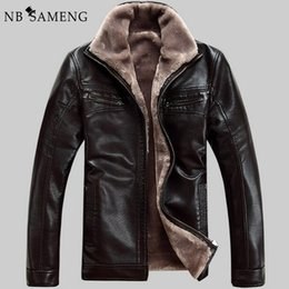 Wholesale Pu Leather Garment - FreeShipping Hot Sale Winter Thick Leather Garment Casual Flocking Leather Jacket Men's Clothing Jacket Men 13M0673