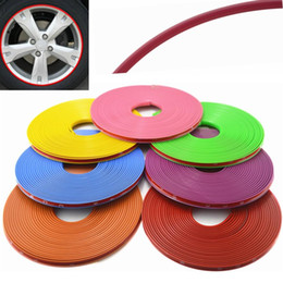 Wholesale Red Car Trim - Universal 8M Roll Car-styling Car Vehicle Color Wheel Rims Protector Care Tire Guard Line Rubber Moulding Trim Car Sticker