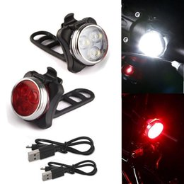 Wholesale Led Bicycle Mini Light - New 2pcs mini Cycling Bicycle Bike aluminum alloy right 3 LED Head Front With USB Rechargeable Tail Clip Light Lamp 5 light mode