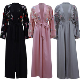 islamic dresses hijab Coupons - UAE Abaya Dubai Kaftan Arab Islam Women Long Floral Muslim Kimono Cardigan Hijab Dress Turkish Elbise Mubarak Islamic Clothing