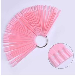 Ventiladores de tarjetas de pc online-50 piezas en forma de abanico rosa falso consejos de uñas tablero de exhibición Tarjeta de color polaco UV acrílico para kit de herramientas de práctica de arte en uñas de gel de manicura