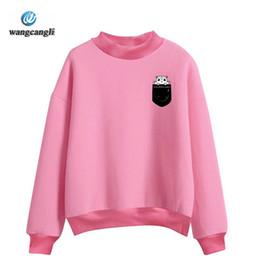 Wholesale Fleece Turtleneck Women - BTS New novelty Pocket Hamster sweatshirt Oversize Turtlenecks Women men O Neck London Boy female fleece hoodies sweatshirts
