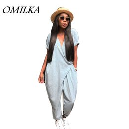 Wholesale jumpsuit harem overall - OMILKA 2018 Summer Women Short Sleeve V Neck Harem Rompers and Jumpsuits Casual Loose Gray Pocket Club Streetwear Overalls