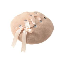 146d6dc0966d6 Women Sweet Beret Hat Female Soft Macaron Color Ribbon Strap Woolen Beret  British Style Cross Strap Bowknot Girls Warm Caps