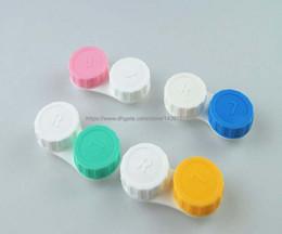 100 conjuntos de Lente de Contato Caso adorável Doce Cor Colorido Dual Box Duplo Caso Lens Embeber Casos Frete Grátis de