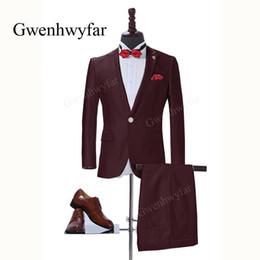 2019 tessuti per abbigliamento maschile Gwenhwyfar Shinny Tessuto Picco  risvolto Smoking dello sposo Abiti da sposa 9a2e6378b28