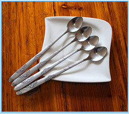 Wholesale small steel spoon - (10 Pieces  Lot )Silver Stainless Steel Coffee Spoon Long -Handled Small Stirring Spoons Tableware Creative Cute Colher