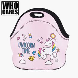 cajas de almuerzo aisladas rosadas Rebajas Unicorn Time Pink Impresión en 3D bolsas de almuerzo Who Cares 2017 Moda lancheira termica loncheras lonchera bolsa bolsa con aislamiento