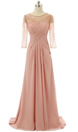 sequined beaded mother bride Coupons - Blush Pink Sheer Neck Mother of the Bride Groom Dresses With Illusion Half Sleeves Beaded Sequined Chiffon Hollow Back Evening Prom dresses