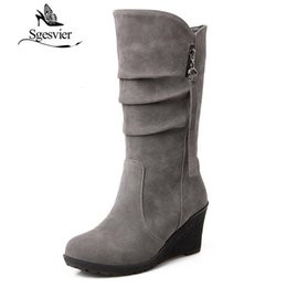 Wholesale Wedge Army Boots - SGESVIER winter boots Woman half knee boots wedge heel Female Fashion Outdoor Snow for Women botas size 28-52 OX003