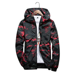 Wholesale Camouflage Outwear - 2018 Men's Spring Summer Hood Jackets Fashion Camouflage Print Waterproof Windbreaker Casual Bomber Jacket Coat Outwear Chaqueta