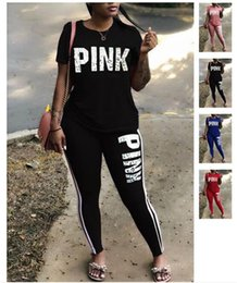 Wholesale Wholesale Youth Shirts - Pink Letter Print Tracksuits girls youth Women love pink Short Sleeve Casual Two Piece Sets T shirt+Leggings sportswear Jogger Suits Outfits
