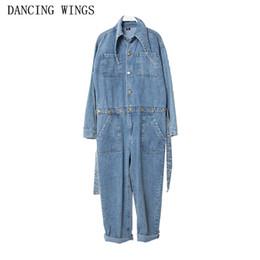 combinaison en denim léger Promotion Printemps bleu clair combinaison en denim lâche avec ceinture manches longues dames combinaisons Jeans cheville-longueur pantalon femelle salopette