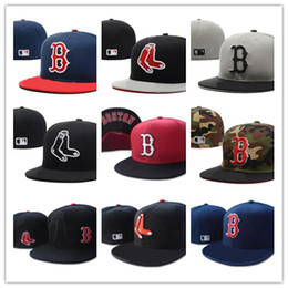 Wholesale Closed Cap Hats - Cheap Hot Classic Boston Red Sox Fitted Hats Camo Top With Black Brim Red Letter B Baseball Closed Caps For Men and Women