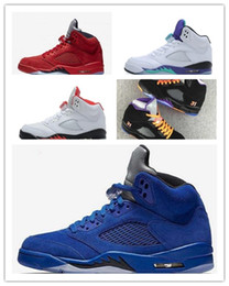 Wholesale white suit shoes men - new 5s Classic 5 flight suit red blue suede white cement grape Basketball Sports Shoes sneakers for men women