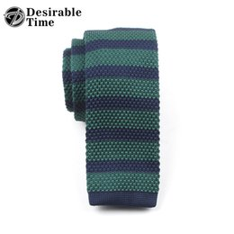 Wholesale Slim Knitted Ties - Desirable Time Mens Striped Knitted Neck Tie Accessories Fashion Multi-color Slim Green Ties for Men DT190