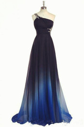 bule sexy dresses Promo Codes - 2019 Elegant Style Royal Bule Color Evening Dress One shoulder Empire Waist Chiffon Black Formal Dresses