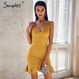 Mermaid maxi dresses online-Simplee sexy v cuello de la correa de la colmena mini vestido de las mujeres flacas sirena negro 2018 vestido de verano bodycon partido vestido